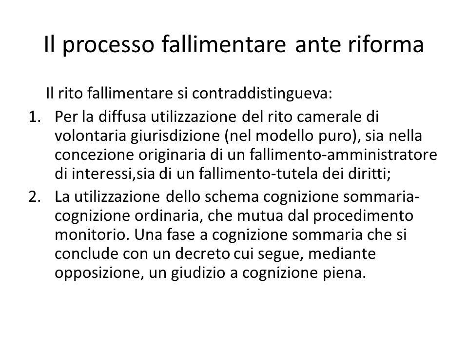 Il processo fallimentare ante riforma Il rito fallimentare si contraddistingueva: 1.Per la diffusa utilizzazione del rito camerale di volontaria giuri