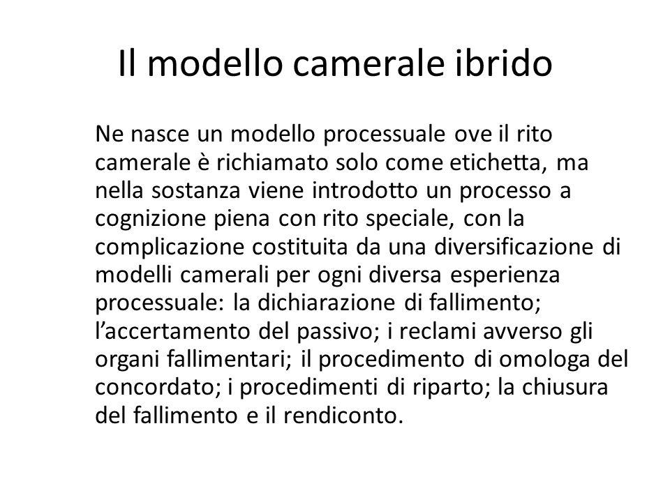 Il modello camerale ibrido Ne nasce un modello processuale ove il rito camerale è richiamato solo come etichetta, ma nella sostanza viene introdotto u