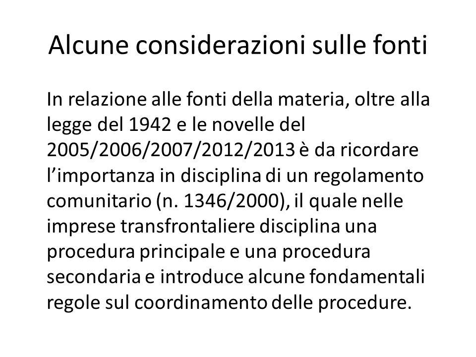 Alcune considerazioni sulle fonti In relazione alle fonti della materia, oltre alla legge del 1942 e le novelle del 2005/2006/2007/2012/2013 è da rico