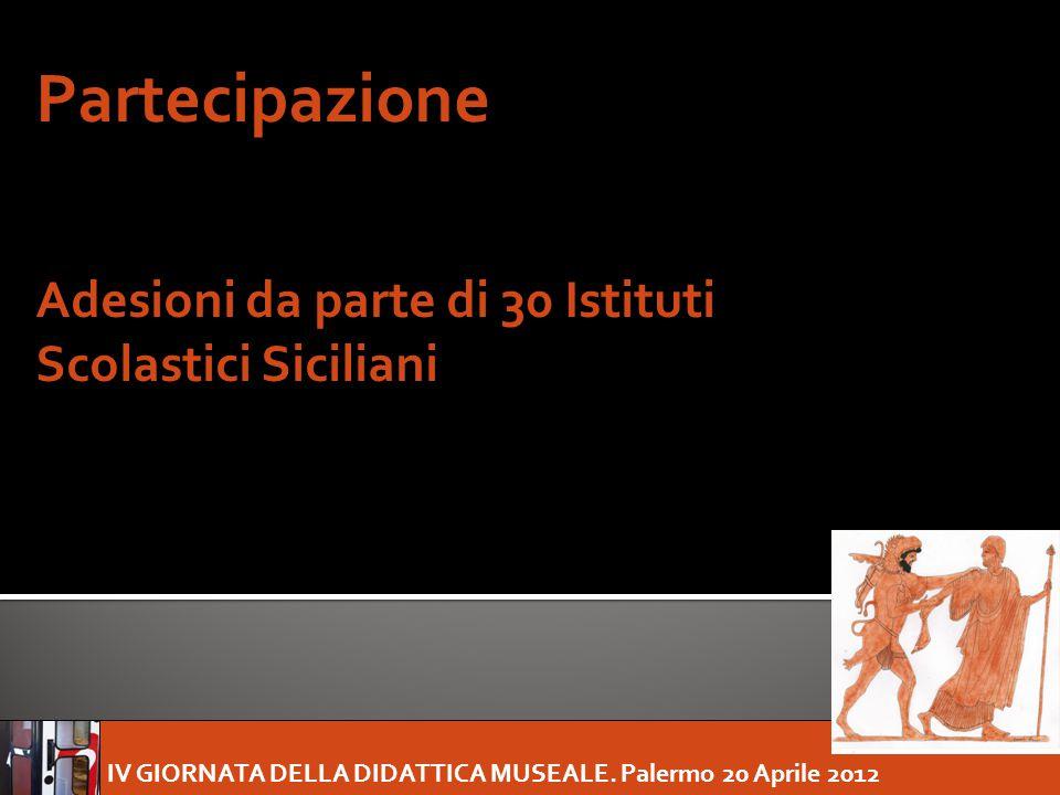 IV GIORNATA DELLA DIDATTICA MUSEALE. Palermo 20 Aprile 2012 Partecipazione Adesioni da parte di 30 Istituti Scolastici Siciliani