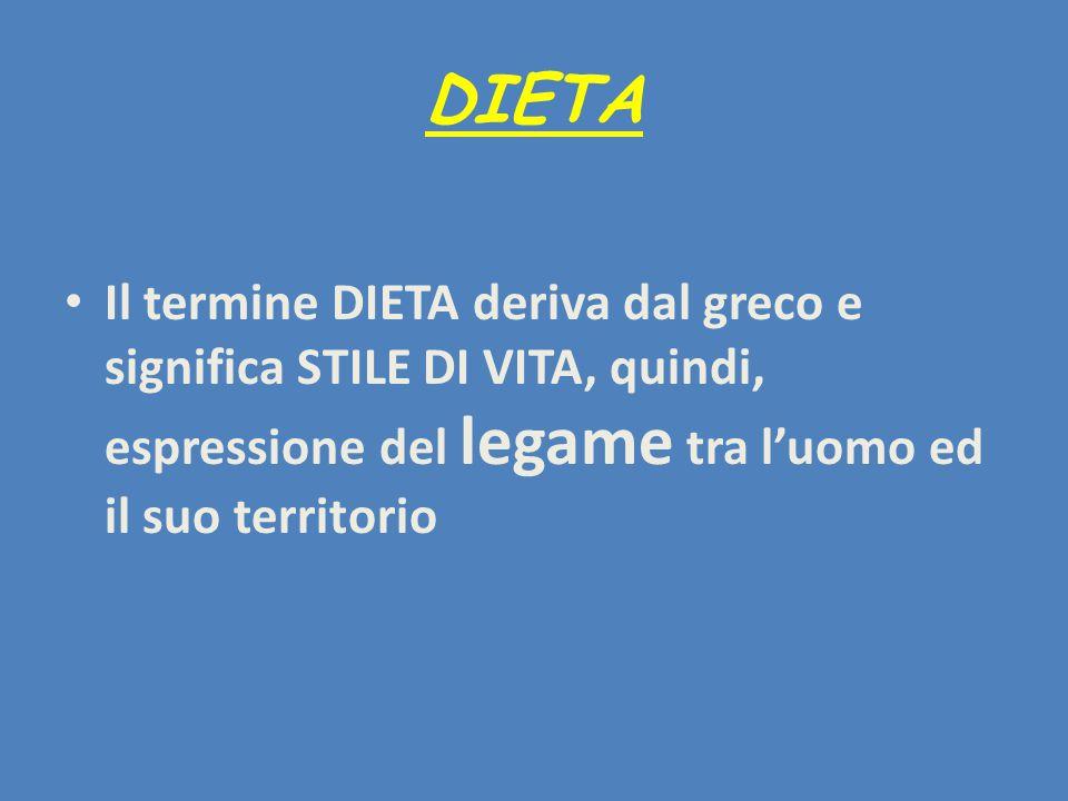 DIETA Il termine DIETA deriva dal greco e significa STILE DI VITA, quindi, espressione del legame tra l'uomo ed il suo territorio