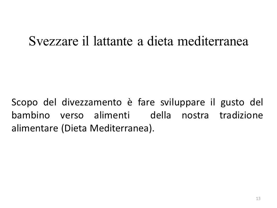 Svezzare il lattante a dieta mediterranea 13 Scopo del divezzamento è fare sviluppare il gusto del bambino verso alimenti della nostra tradizione alimentare (Dieta Mediterranea).