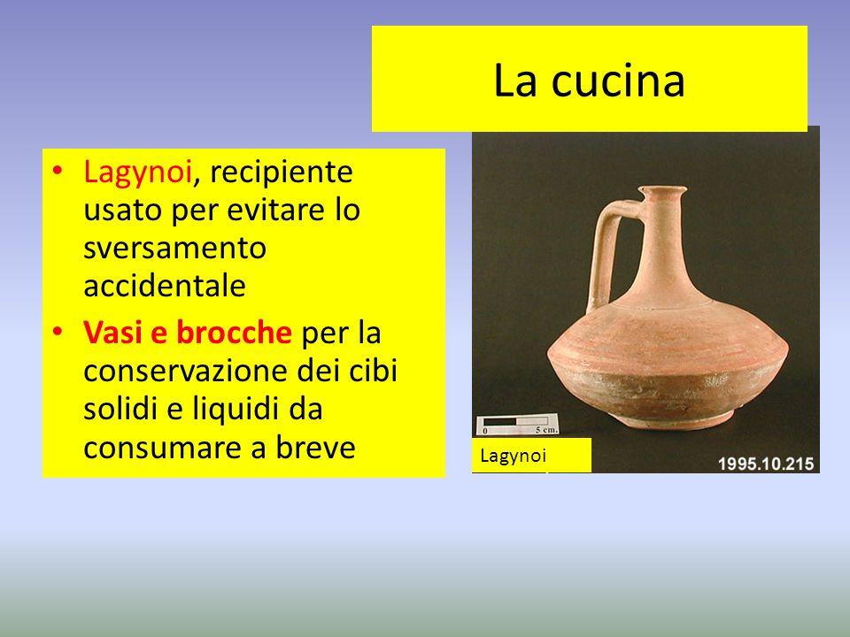 Lagynoi, recipiente usato per evitare lo sversamento accidentale Vasi e brocche per la conservazione dei cibi solidi e liquidi da consumare a breve La