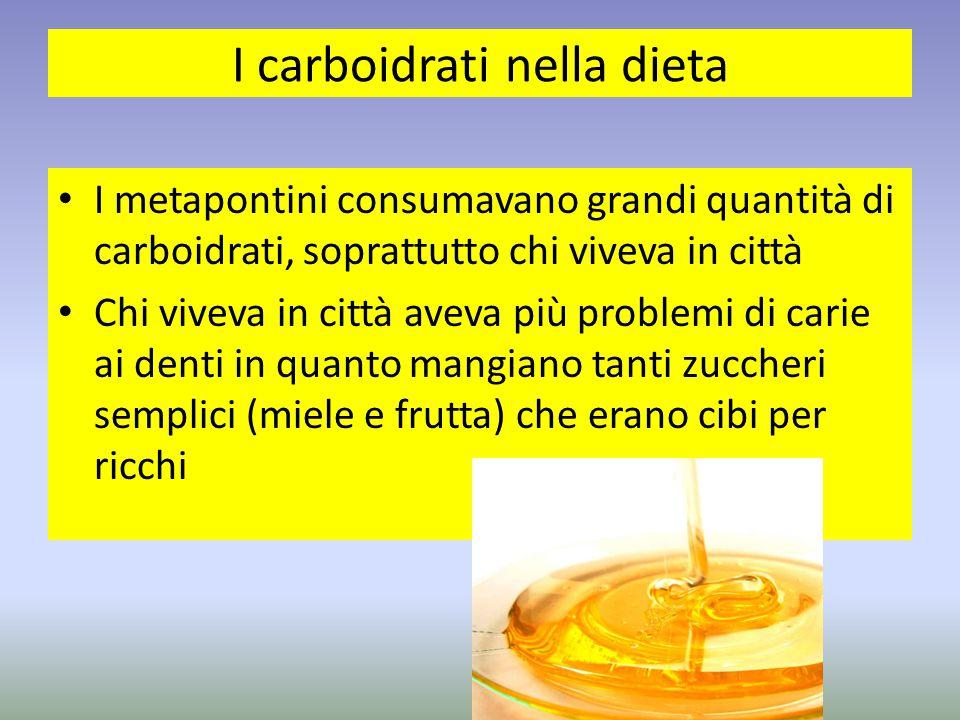 I carboidrati nella dieta I metapontini consumavano grandi quantità di carboidrati, soprattutto chi viveva in città Chi viveva in città aveva più prob