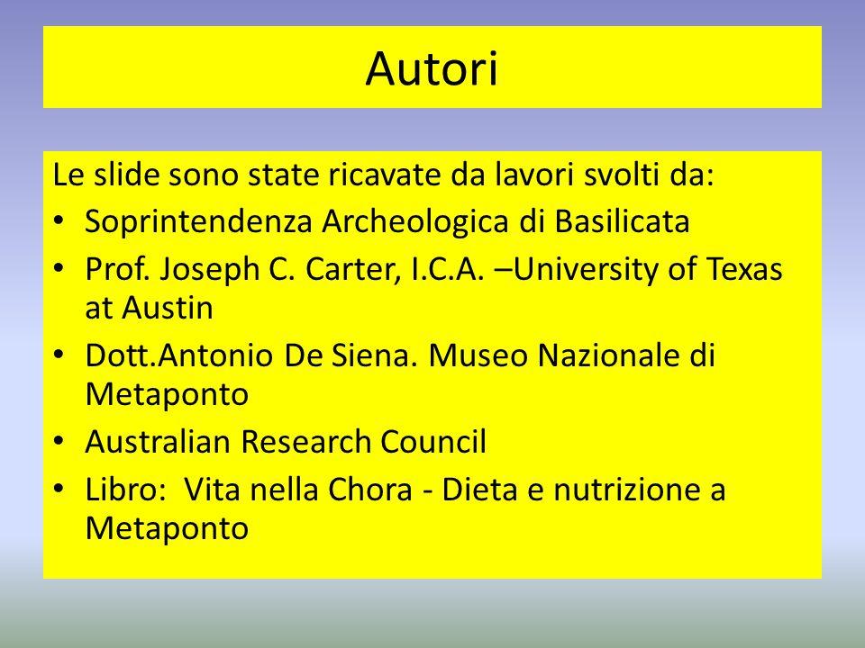 Autori Le slide sono state ricavate da lavori svolti da: Soprintendenza Archeologica di Basilicata Prof. Joseph C. Carter, I.C.A. –University of Texas