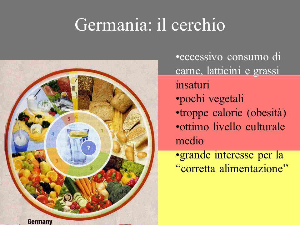 Germania: il cerchio eccessivo consumo di carne, latticini e grassi insaturi pochi vegetali troppe calorie (obesità) ottimo livello culturale medio gr