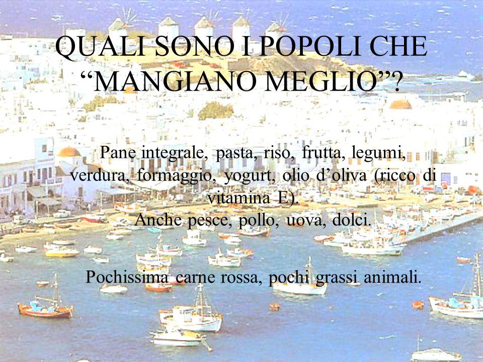 """QUALI SONO I POPOLI CHE """"MANGIANO MEGLIO""""? Pane integrale, pasta, riso, frutta, legumi, verdura, formaggio, yogurt, olio d'oliva (ricco di vitamina E)"""