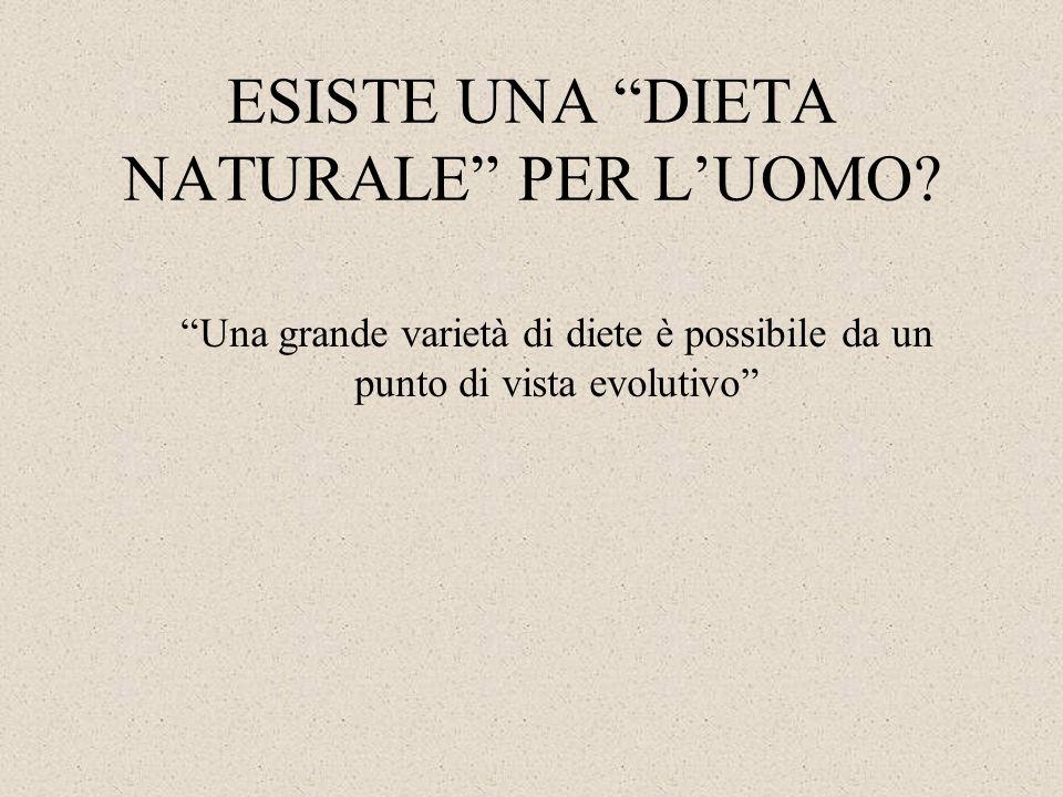 """ESISTE UNA """"DIETA NATURALE"""" PER L'UOMO? """"Una grande varietà di diete è possibile da un punto di vista evolutivo"""""""