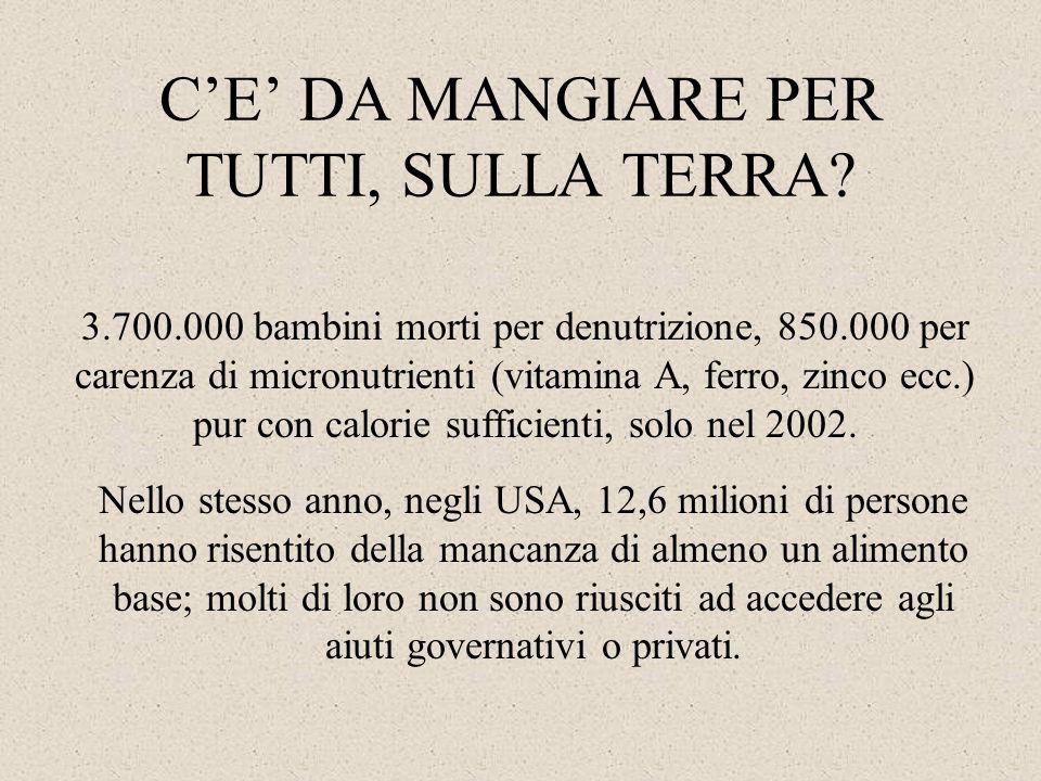 C'E' DA MANGIARE PER TUTTI, SULLA TERRA? 3.700.000 bambini morti per denutrizione, 850.000 per carenza di micronutrienti (vitamina A, ferro, zinco ecc