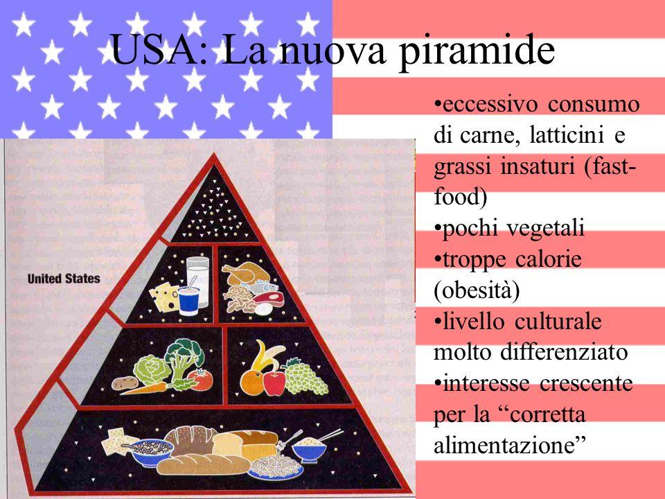 USA: La nuova piramide eccessivo consumo di carne, latticini e grassi insaturi (fast- food) pochi vegetali troppe calorie (obesità) livello culturale
