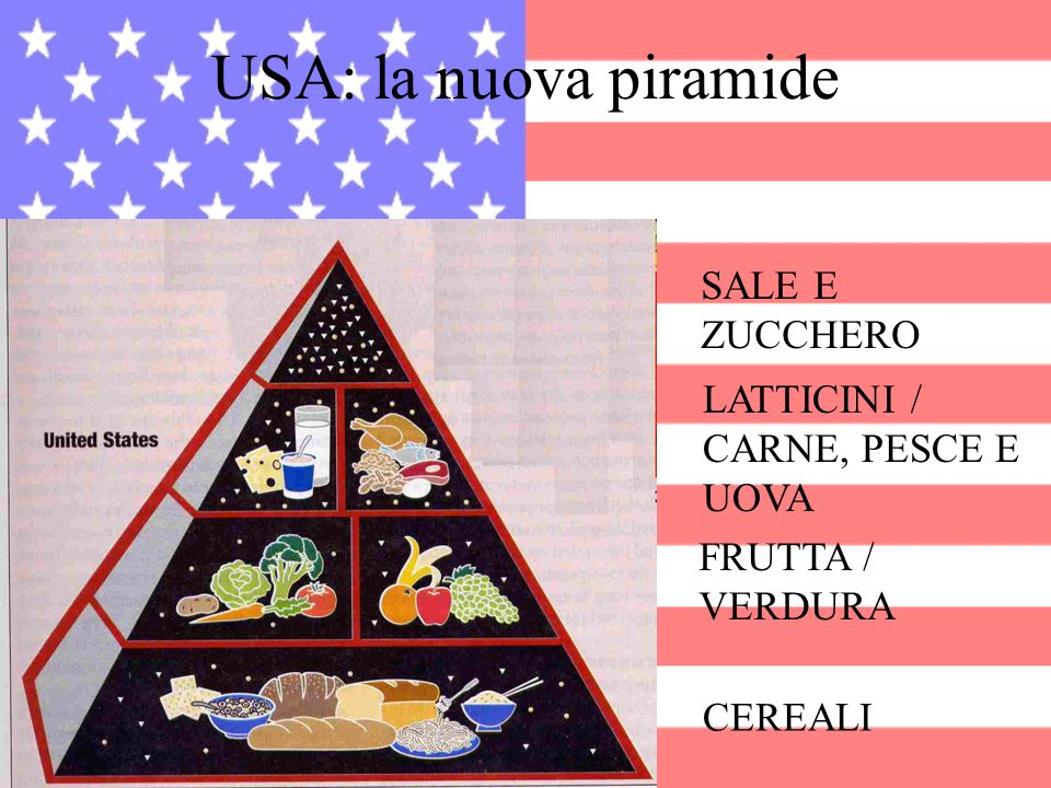 USA: la nuova piramide SALE E ZUCCHERO LATTICINI / CARNE, PESCE E UOVA FRUTTA / VERDURA CEREALI