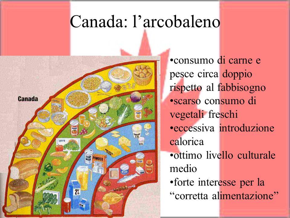 Canada: l'arcobaleno consumo di carne e pesce circa doppio rispetto al fabbisogno scarso consumo di vegetali freschi eccessiva introduzione calorica o