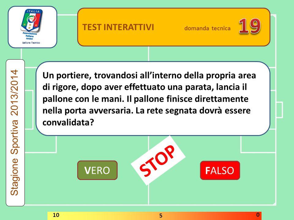 Settore Tecnico TEST INTERATTIVI domanda tecnica Una rimessa laterale e' ripetuta dalla stessa squadra quando il pallone non entra sul terreno di gioc