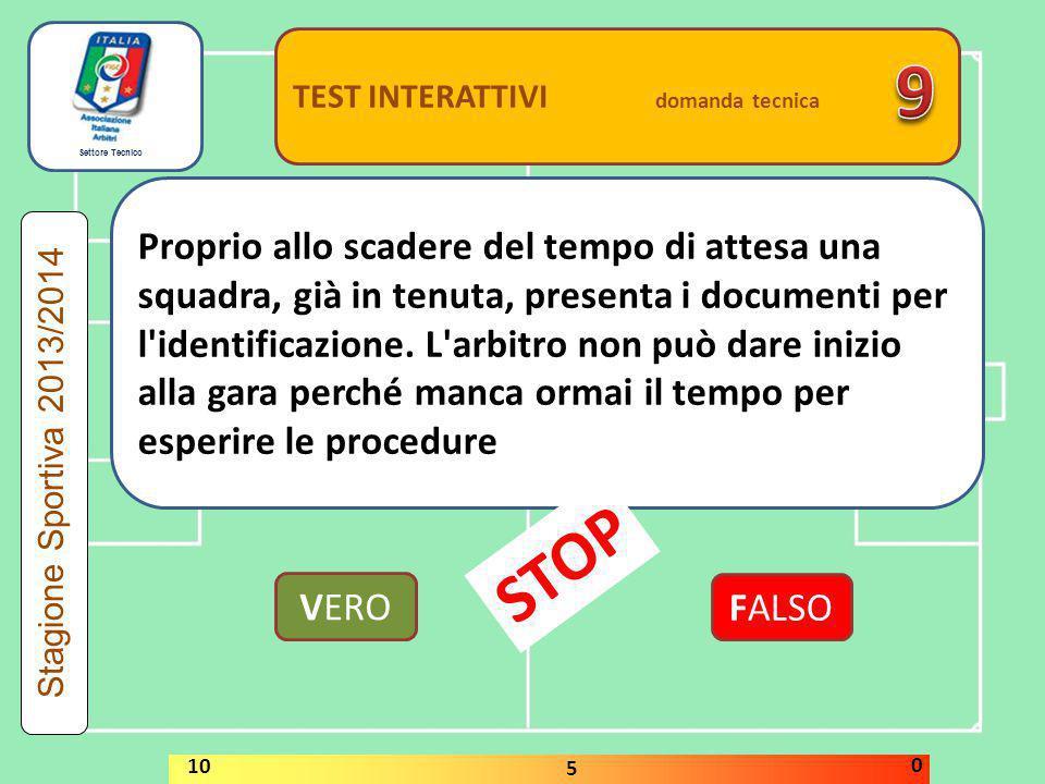 Settore Tecnico TEST INTERATTIVI domanda tecnica Quale decisione deve assumere l'arbitro se, durante la gara, nota che una delle squadre cerca deliber