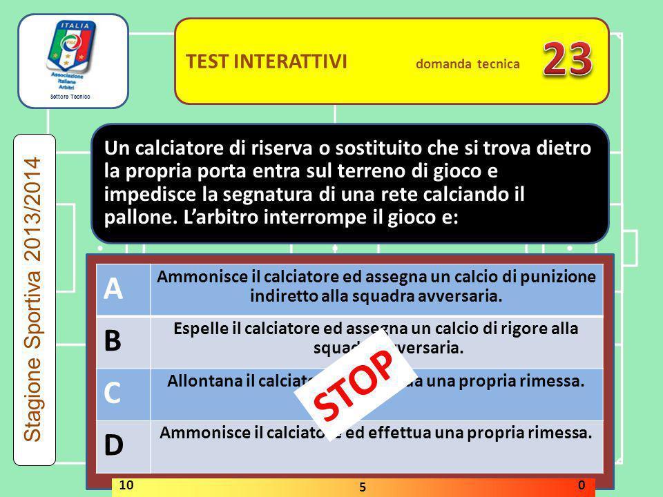 Settore Tecnico TEST INTERATTIVI domanda tecnica Se l'arbitro ha interrotto il gioco per ammonire un calciatore di riserva o sostituito che è entrato