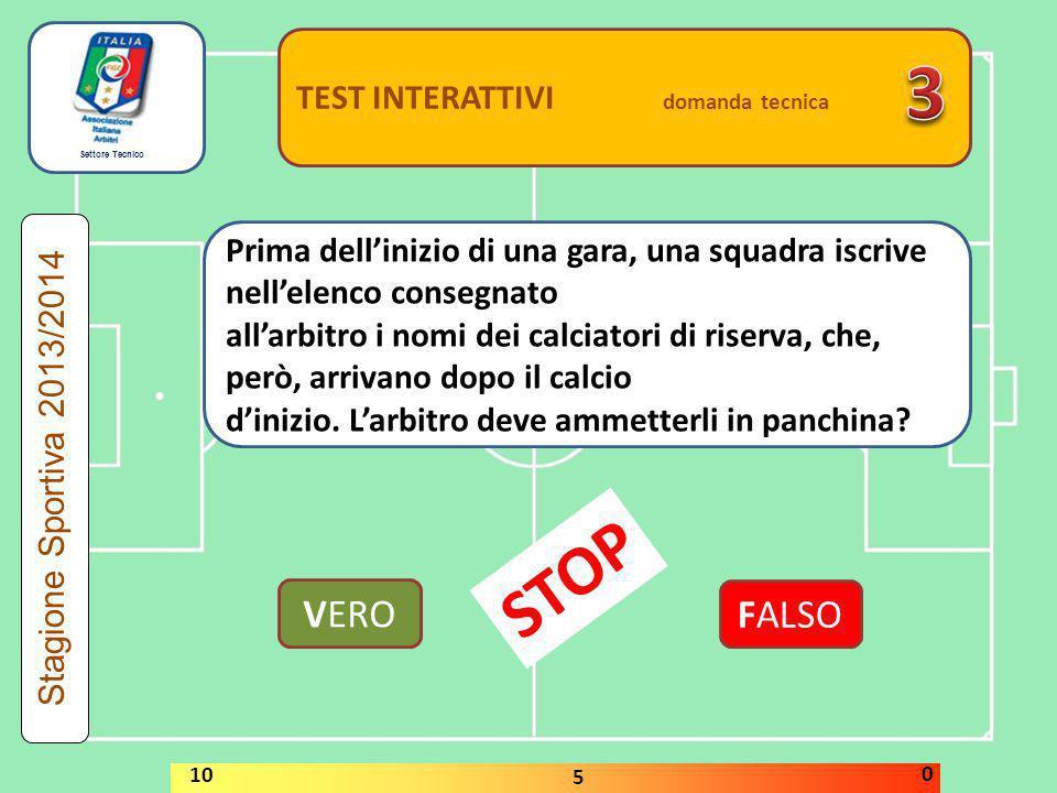 Settore Tecnico TEST INTERATTIVI domanda tecnica Qualora fosse constatata prima dell'inizio della gara la mancanza dei palloni di riserva prescritti,