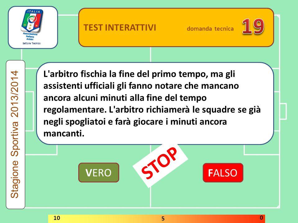 Settore Tecnico TEST INTERATTIVI domanda tecnica Se un calciatore che si trova all'interno della propria area di rigore lancia un oggetto contro un av