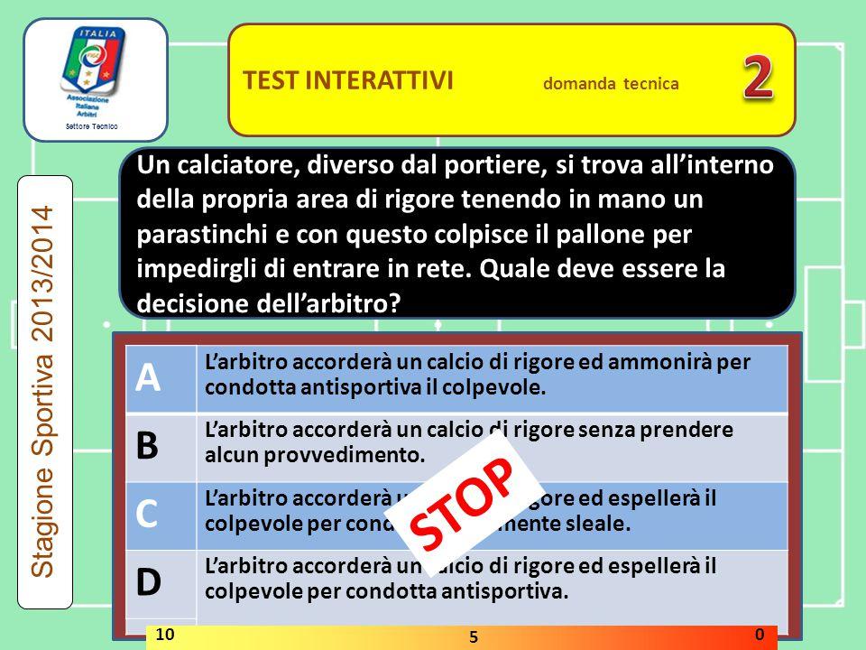 Settore Tecnico TEST INTERATTIVI domanda tecnica L assistente n.1 si infortuna leggermente.
