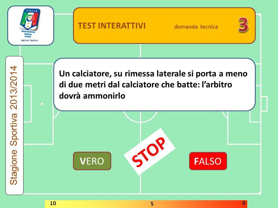 Settore Tecnico TEST INTERATTIVI domanda tecnica Un calciatore effettua un calcio di punizione rapidamente.