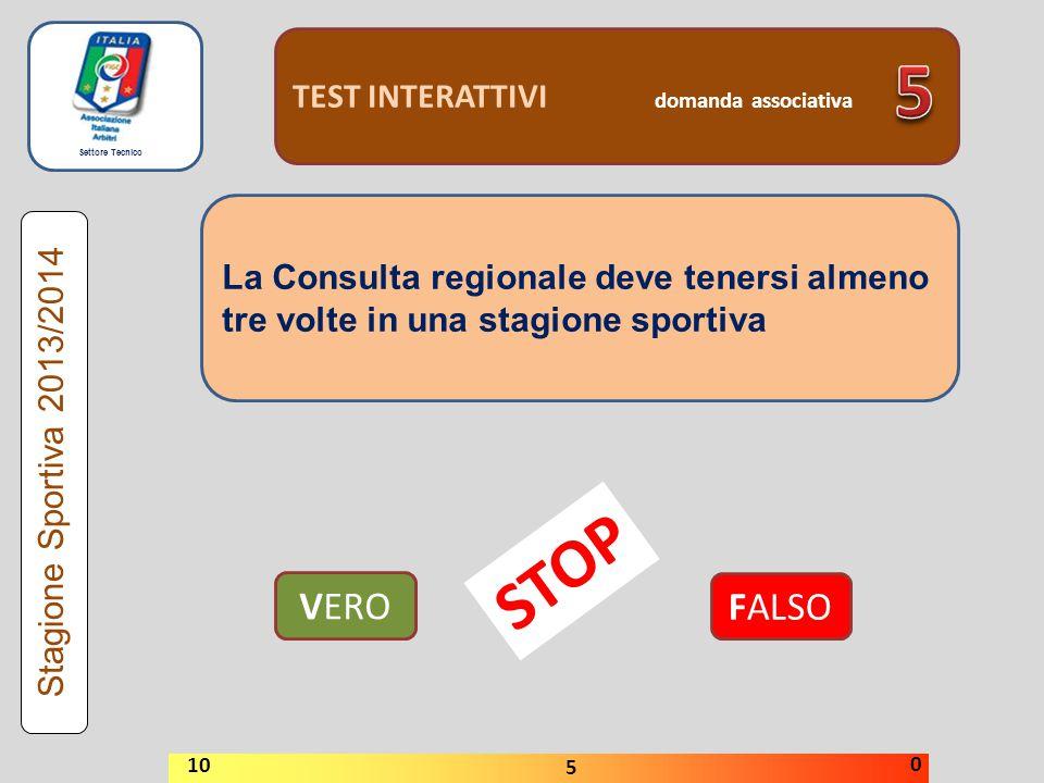 Settore Tecnico TEST INTERATTIVI domanda associativa La Consulta regionale deve tenersi almeno tre volte in una stagione sportiva VERO FALSO Stagione Sportiva 2013/2014 STOP 10 5 0