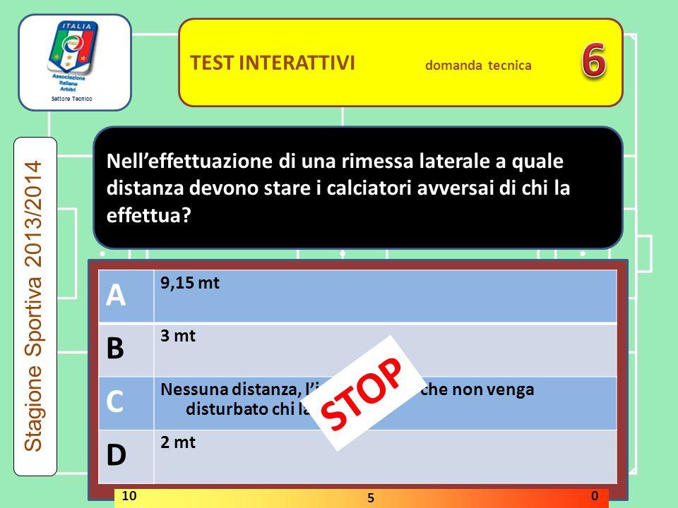 Settore Tecnico TEST INTERATTIVI domanda tecnica Nell'effettuazione di una rimessa laterale a quale distanza devono stare i calciatori avversai di chi la effettua.
