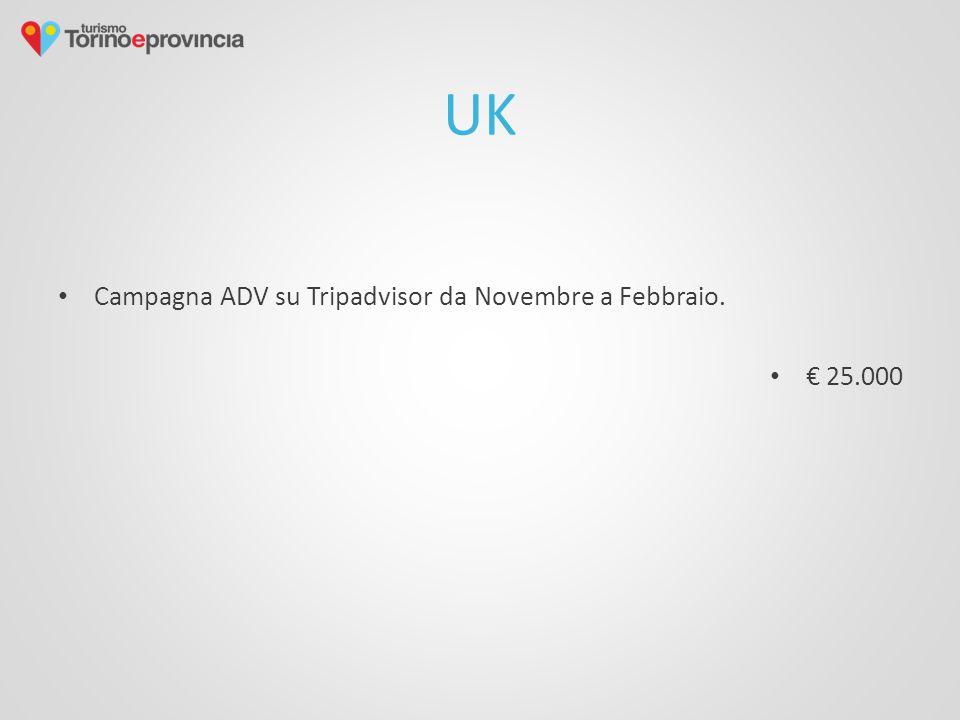 UK Campagna ADV su Tripadvisor da Novembre a Febbraio. € 25.000