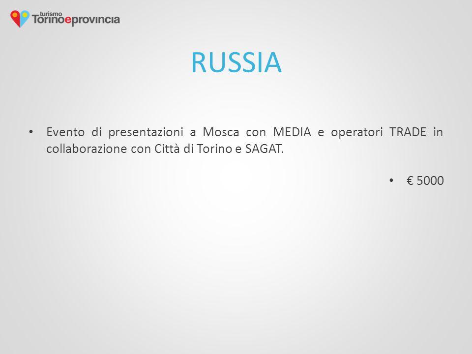 RUSSIA Evento di presentazioni a Mosca con MEDIA e operatori TRADE in collaborazione con Città di Torino e SAGAT. € 5000