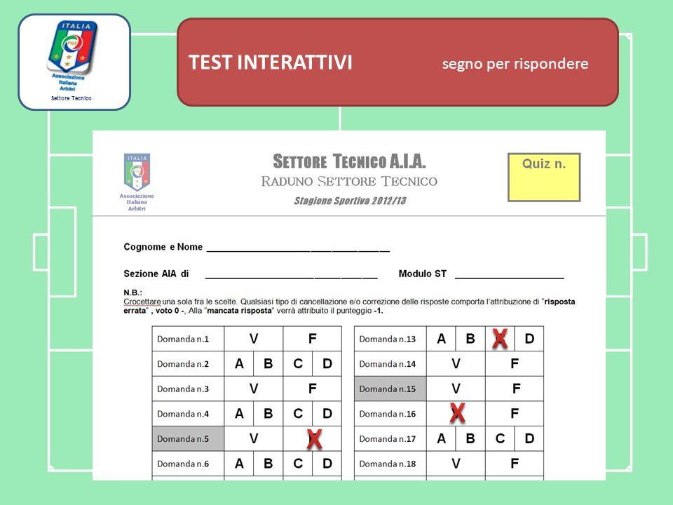 Settore Tecnico TEST INTERATTIVI domanda associativa Gli assistenti a disposizione dell'OTR, sono inquadrati come arbitri effettivi.