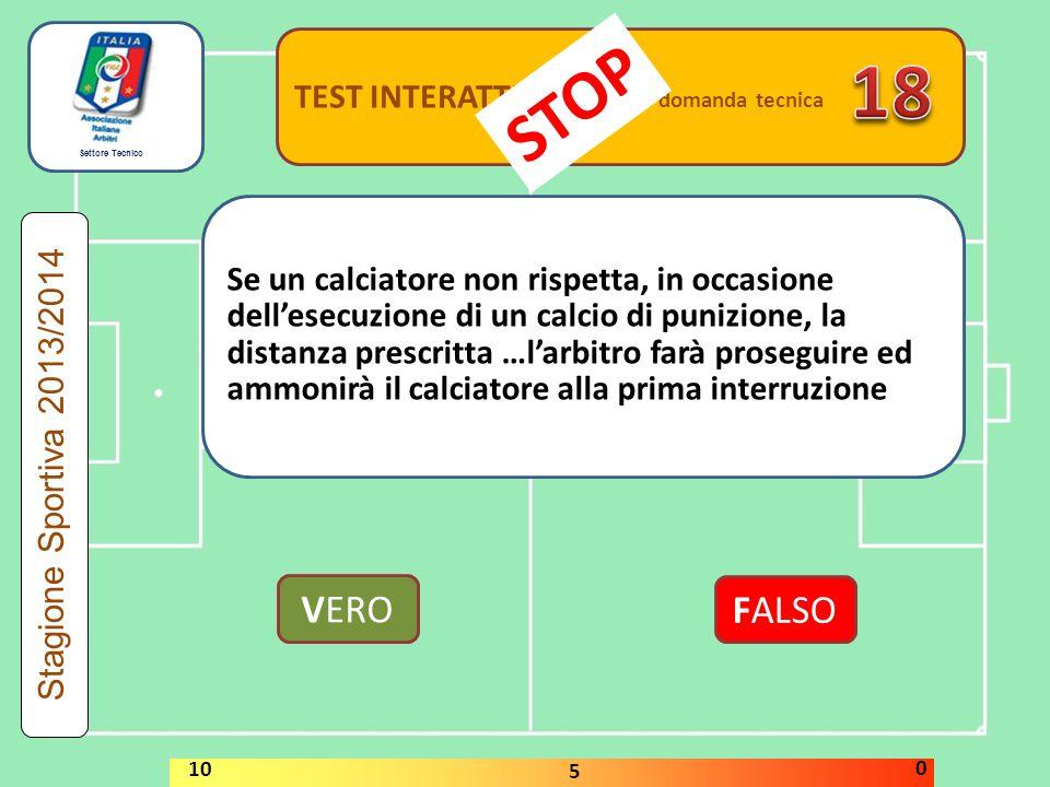 Settore Tecnico TEST INTERATTIVI domanda tecnica Se un calciatore non rispetta, in occasione dell'esecuzione di un calcio di punizione, la distanza pr