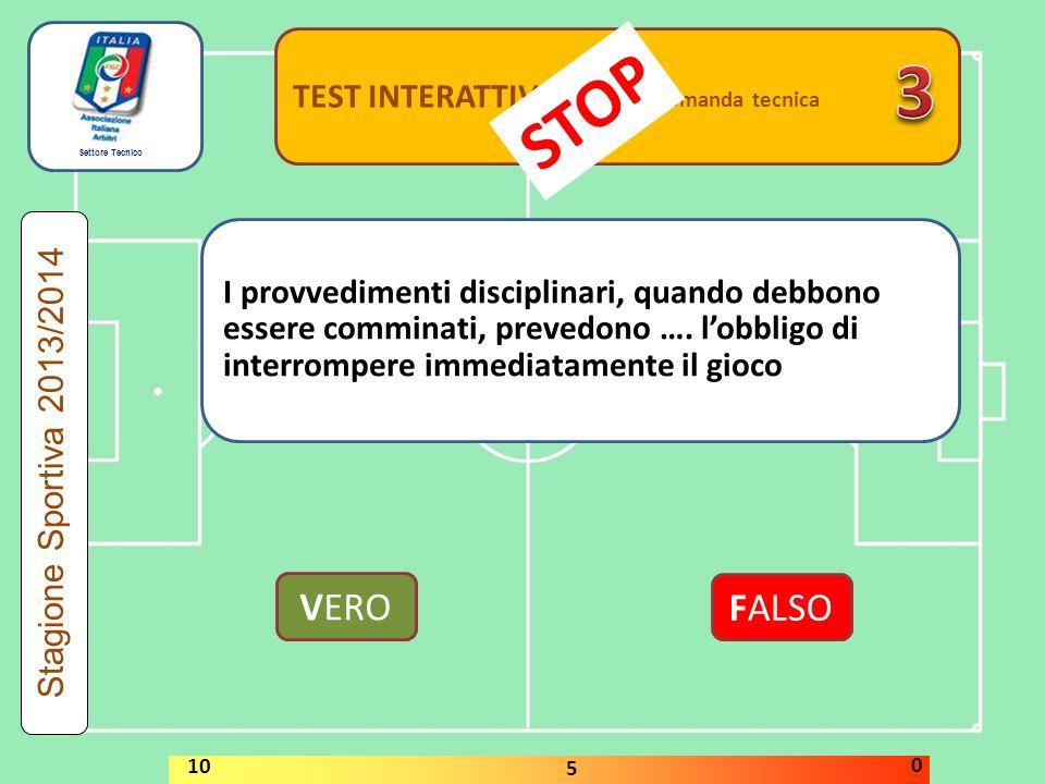 Settore Tecnico TEST INTERATTIVI domanda tecnica Si considera segnata una rete….quando il pallone supera per oltre la metà la linea di porta VERO FALSO Stagione Sportiva 2013/2014 STOP 10 5 0