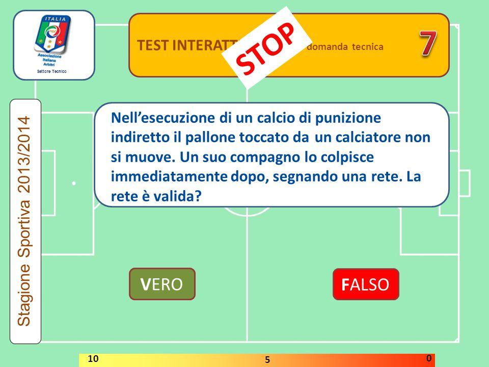 Settore Tecnico TEST INTERATTIVI domanda tecnica VERO FALSO Stagione Sportiva 2013/2014 STOP 10 5 0 Nell'esecuzione di un calcio di punizione indirett