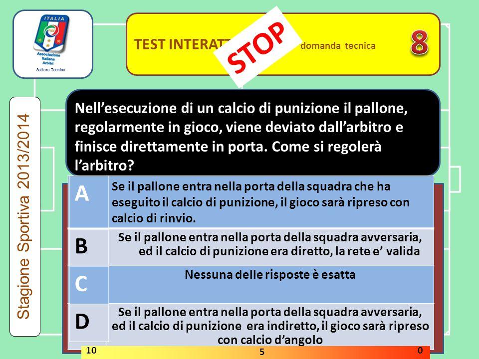 Settore Tecnico TEST INTERATTIVI domanda tecnica Stagione Sportiva 2013/2014 A Se il pallone entra nella porta della squadra che ha eseguito il calcio