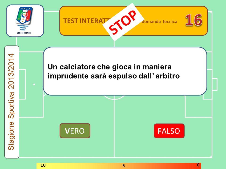 Settore Tecnico TEST INTERATTIVI domanda tecnica Un calciatore che gioca in maniera imprudente sarà espulso dall' arbitro VERO FALSO Stagione Sportiva