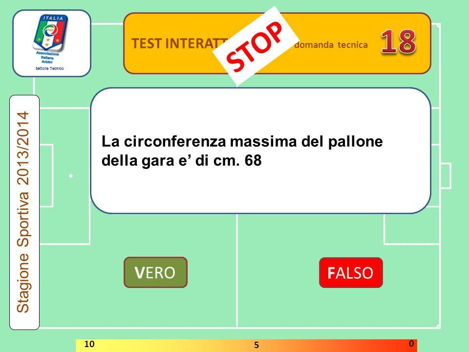 Settore Tecnico TEST INTERATTIVI domanda tecnica La circonferenza massima del pallone della gara e' di cm. 68 VERO FALSO Stagione Sportiva 2013/2014 S