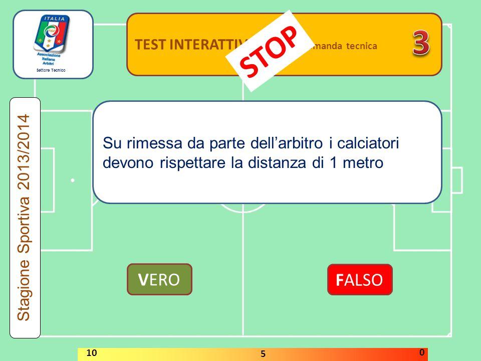Settore Tecnico TEST INTERATTIVI domanda tecnica Un calciatore può giocare con una maglia sprovvista di numero VERO FALSO Stagione Sportiva 2013/2014 STOP 10 5 0