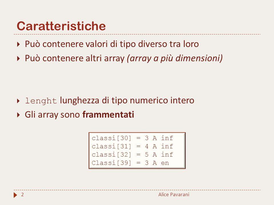 Caratteristiche Alice Pavarani2  Può contenere valori di tipo diverso tra loro  Può contenere altri array (array a più dimensioni)  lenght lunghezz