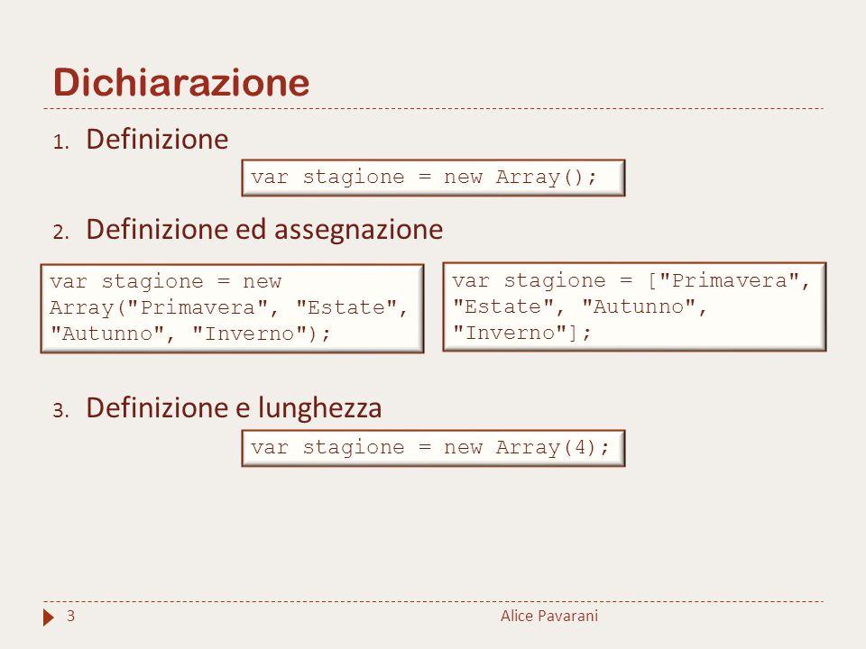 Dichiarazione Alice Pavarani3 1. Definizione 2. Definizione ed assegnazione 3. Definizione e lunghezza var stagione = new Array(); var stagione = new