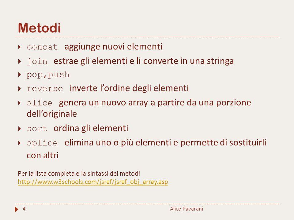 Metodi Alice Pavarani4  concat aggiunge nuovi elementi  join estrae gli elementi e li converte in una stringa  pop,push  reverse inverte l'ordine