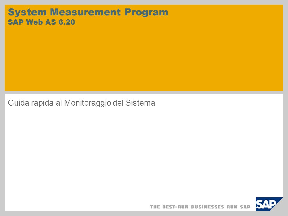 System Measurement Program SAP Web AS 6.20 Guida rapida al Monitoraggio del Sistema