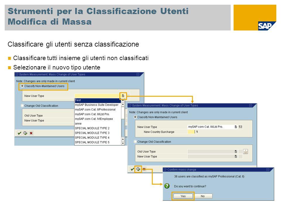 Strumenti per la Classificazione Utenti Modifica di Massa Classificare gli utenti senza classificazione Classificare tutti insieme gli utenti non classificati Selezionare il nuovo tipo utente