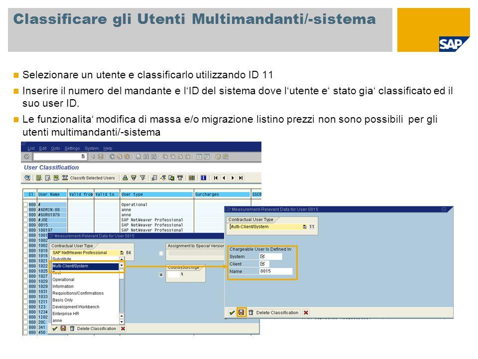 Classificare gli Utenti Multimandanti/-sistema Selezionare un utente e classificarlo utilizzando ID 11 Inserire il numero del mandante e l'ID del sistema dove l'utente e' stato gia' classificato ed il suo user ID.