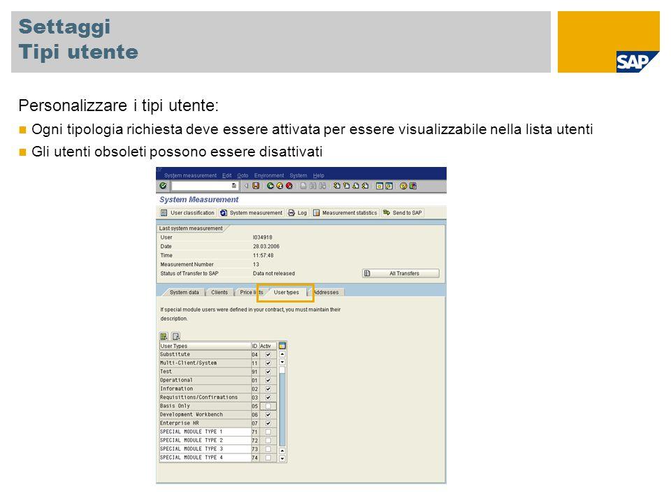Settaggi Tipi utente Personalizzare i tipi utente: Ogni tipologia richiesta deve essere attivata per essere visualizzabile nella lista utenti Gli utenti obsoleti possono essere disattivati