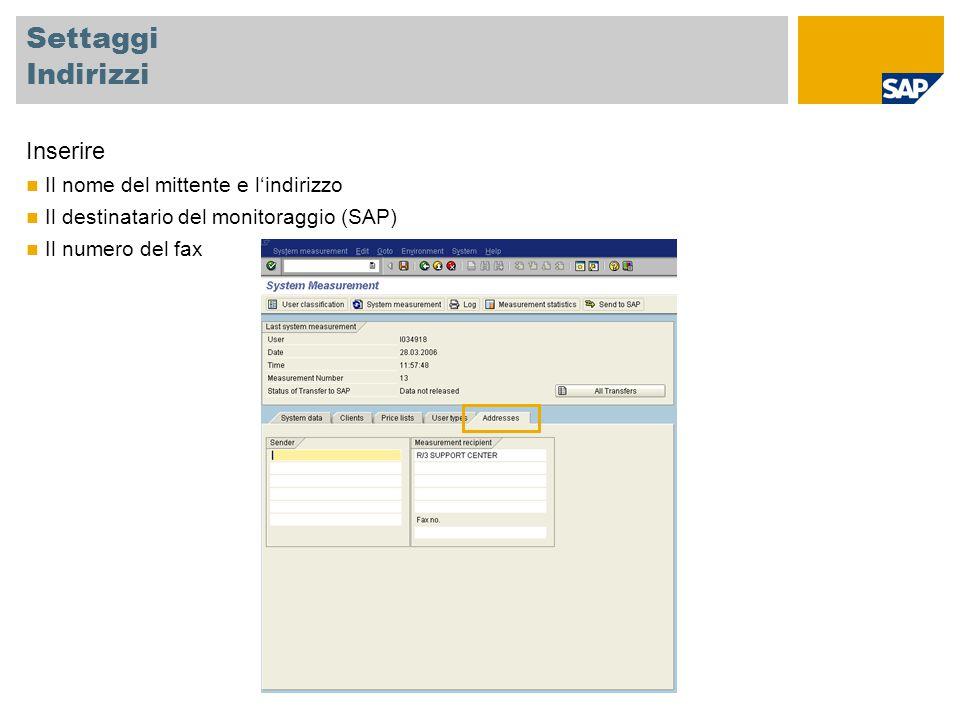 Settaggi Indirizzi Inserire Il nome del mittente e l'indirizzo Il destinatario del monitoraggio (SAP) Il numero del fax