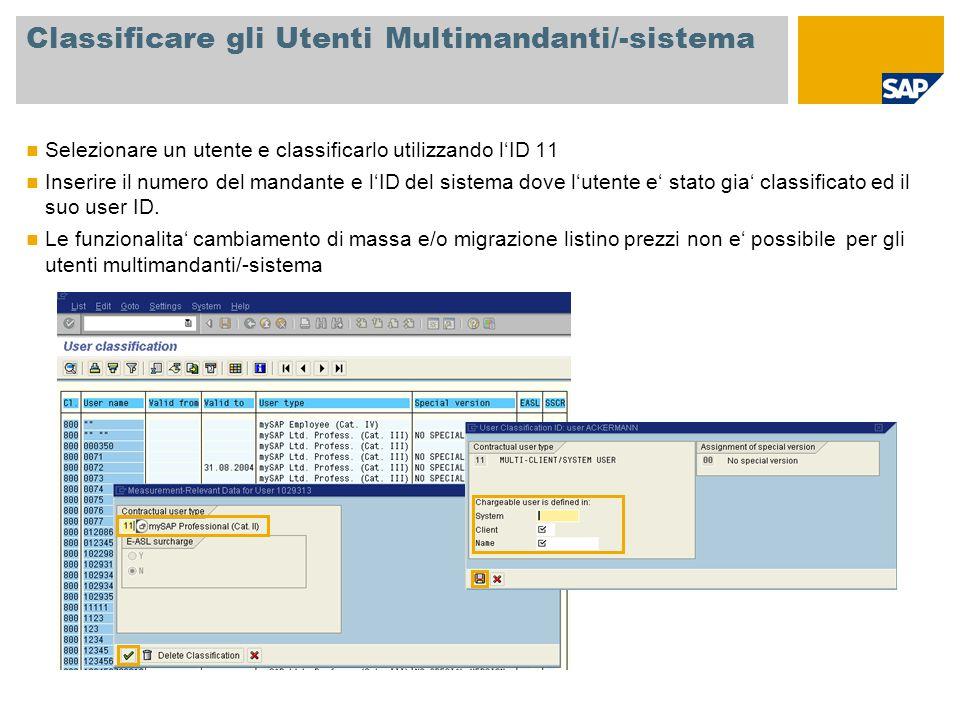 Classificare gli Utenti Multimandanti/-sistema Selezionare un utente e classificarlo utilizzando l'ID 11 Inserire il numero del mandante e l'ID del si