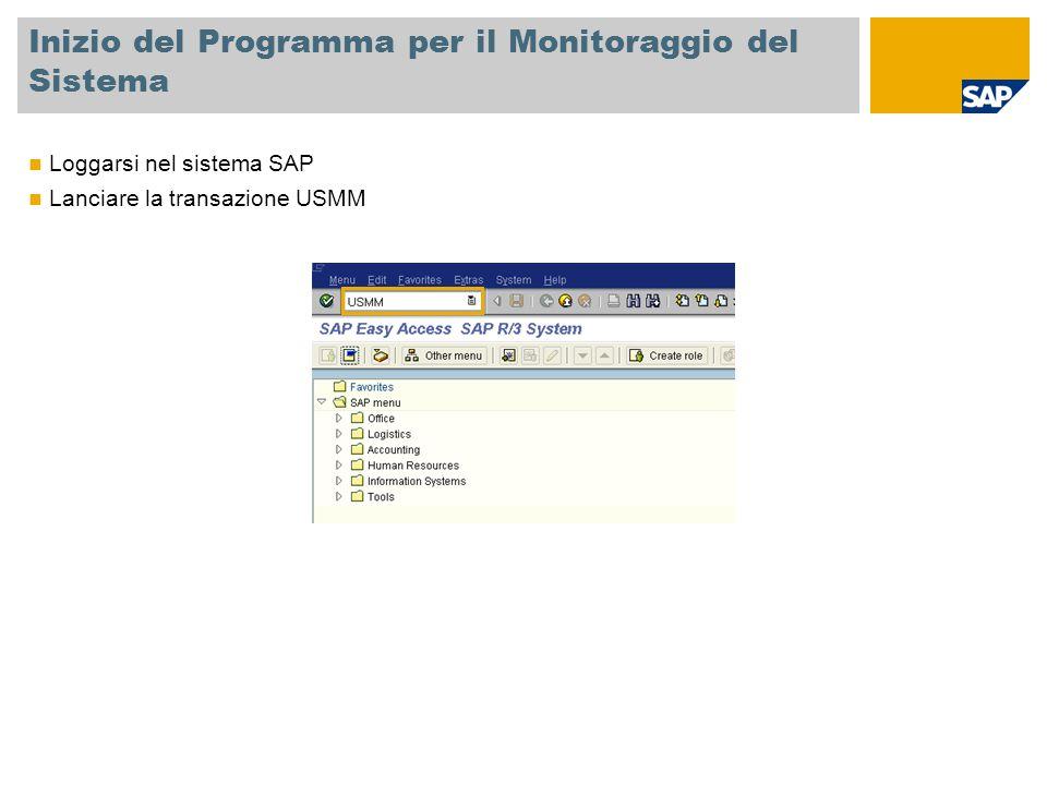 Inizio del Programma per il Monitoraggio del Sistema Loggarsi nel sistema SAP Lanciare la transazione USMM