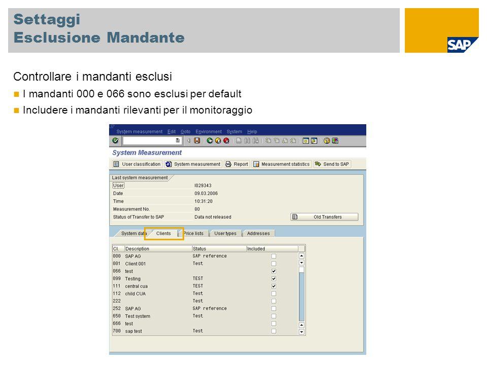 Classificare Utenti Test Tutti gli utenti tecnici possono essere classificati come utenti test, ID 91 Gli utenti tecnici sono Utenti di sistema Utenti di servizio Utenti di riferimento Utenti di comunicazione Utenti SAP, per es.