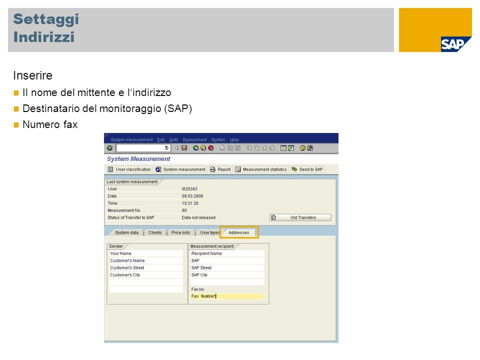 Settaggi Indirizzi Inserire Il nome del mittente e l'indirizzo Destinatario del monitoraggio (SAP) Numero fax