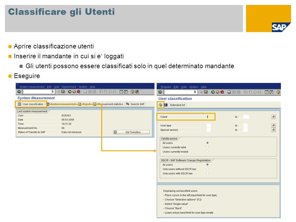 Classificare gli Utenti Aprire classificazione utenti Inserire il mandante in cui si e' loggati Gli utenti possono essere classificati solo in quel de