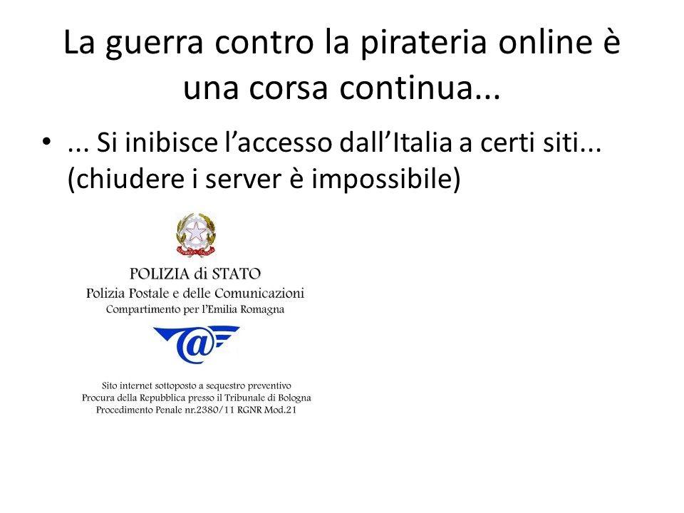 La guerra contro la pirateria online è una corsa continua......