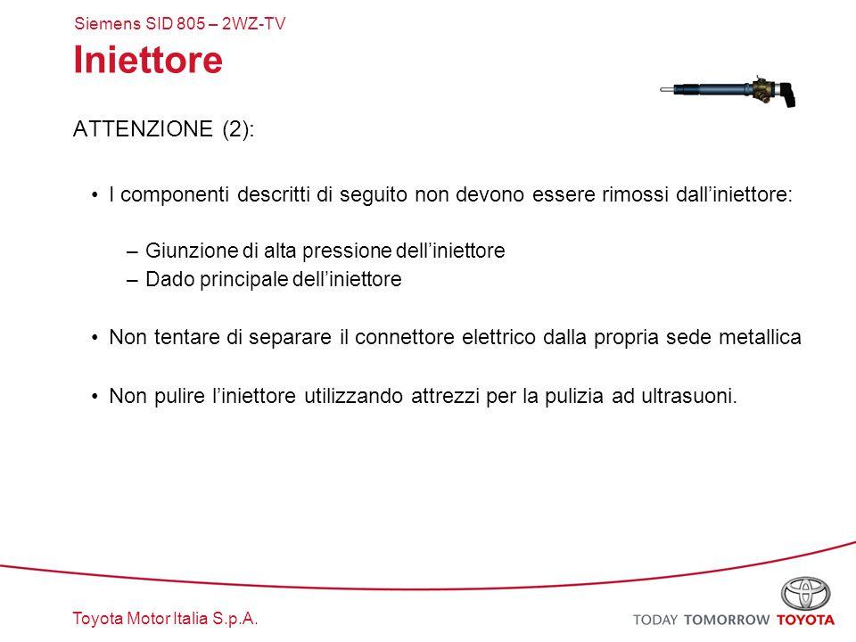 Toyota Motor Italia S.p.A. Iniettore ATTENZIONE (2): I componenti descritti di seguito non devono essere rimossi dall'iniettore: –Giunzione di alta pr
